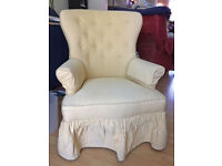 Armchair in yellow material with blue dots, matching arm-covers. Reduced to £30 for quick sale.