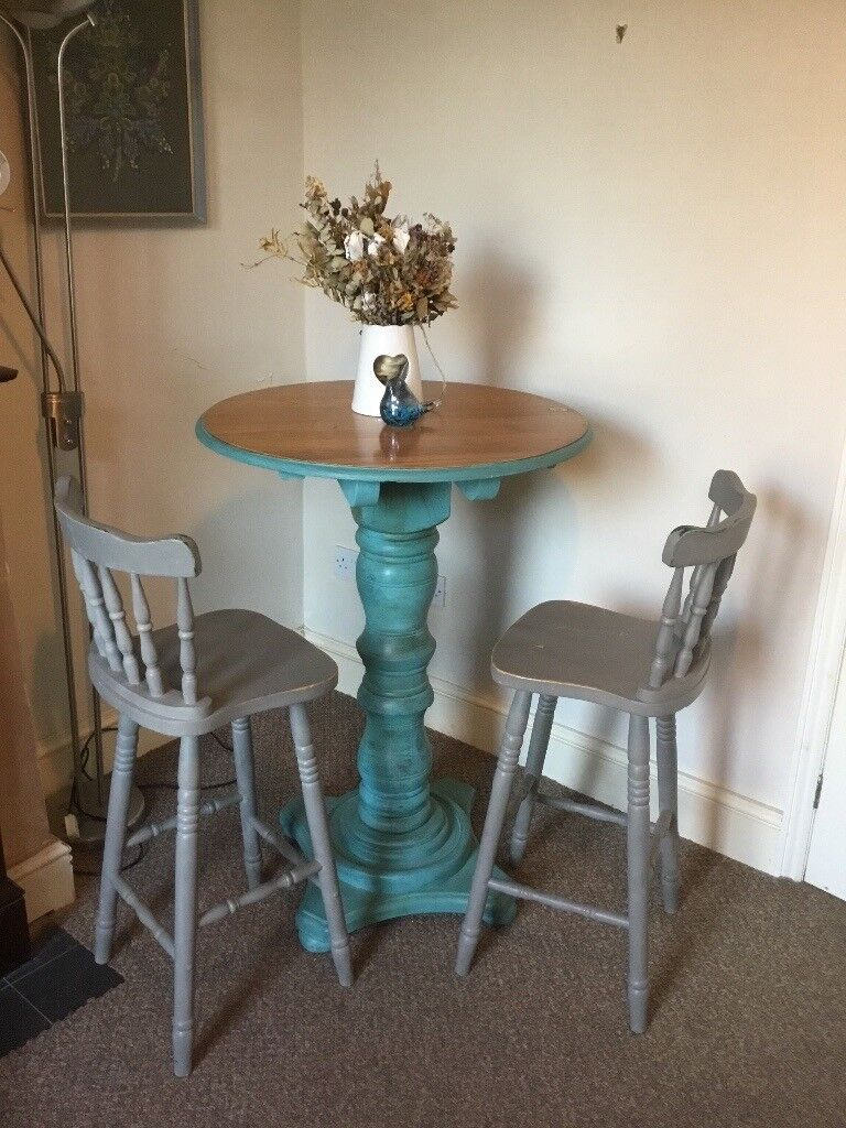 Vintage Shabby Chic Style Bar Table And Chairs