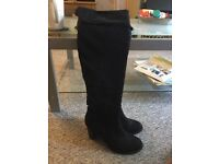 Black suede thigh high boots