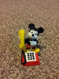 Disney Mickey Mouse Hand painted bully land telephone ornament PVC collector toy