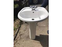 Sink, taps & pedestal- used