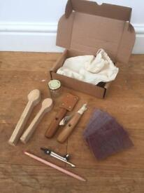 Complete Beginners Spoon Carving Kit. Bushcraft Knives. Ideal Christmas Present