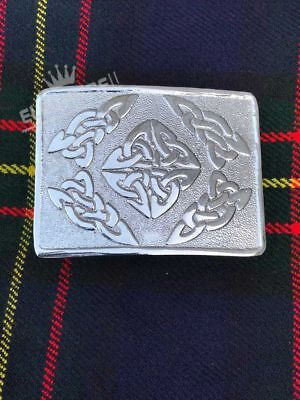 Scottish Celtic Oval Kilt Belt Buckle Chrome Finish/Highland Kilt Belt Buckle
