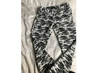Next size 12 black, grey and white trousers