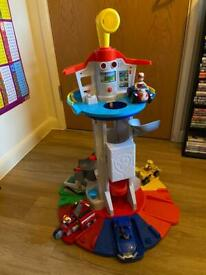 Paw patrol lookout tower with Rider Skye Rubber Chase Marshal Everest