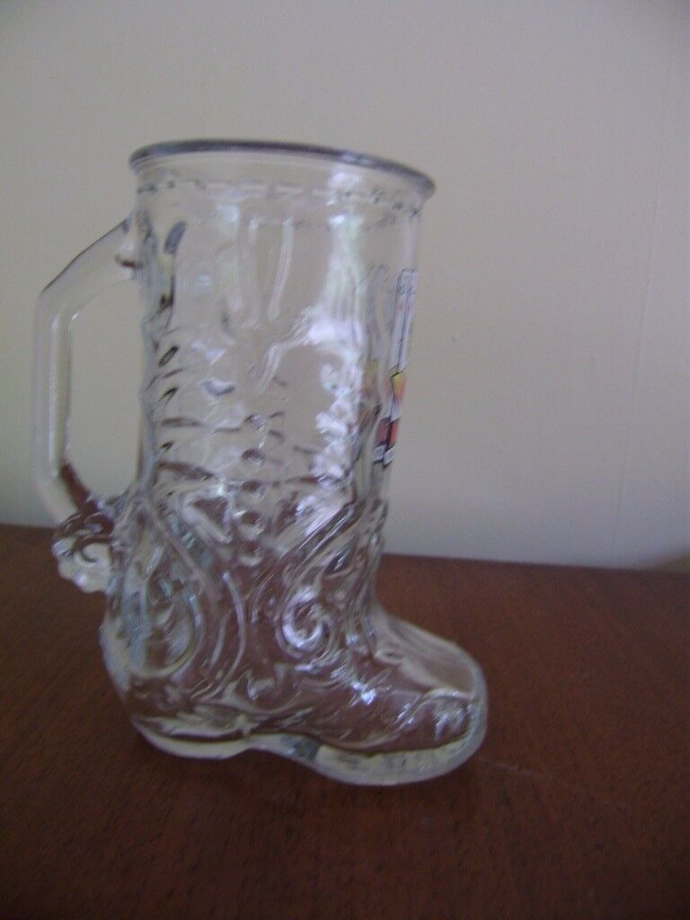 Mug, Vintage Libbey of Canada Clear Glass Beer Mug Cowboy Boot with Spurs