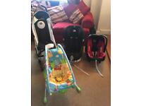 Baby pushchair, car seats and bouncer