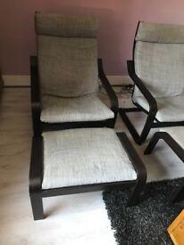 Single Ikea chair and footstool