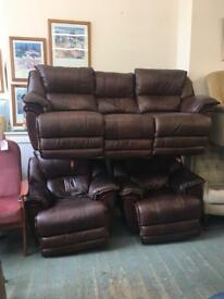 Leather electric reclining sofa and armchairs