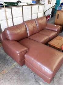 Large Brown Leather four seater sofa with Footrest - Delivery Available