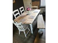 Farmhouse style kitchen dining table 4 chairs and a bench