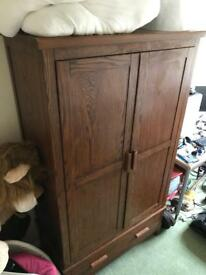 Double wardrobe with drawer - Solid Mango wood