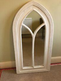 Large arch window mirror - white