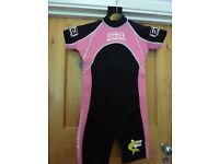 GIRL'S BANANA BITE Pink and Black Shortie Wetsuit: Size 3, Age 7-8.