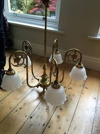 Victorian style brass ceiling lights - 5 shades (pair). £150 for both