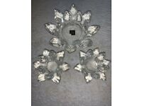 3 Lotus Flower Crystal Candle Holder / Trinket Set IP1