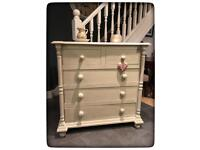Annie Sloan Hand Painted Pine Shabby Chic Chest of Drawers