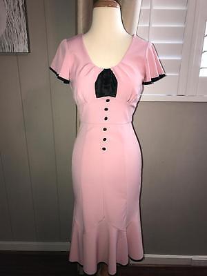 EUC STOP STARING Pretty PiNK Rockabilly Retro Pin Up Pencil Wiggle Dress S (Pretty Pencils)