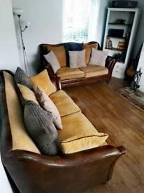 X2 Leather Hardwood Frame High Back 3 seater Sofas