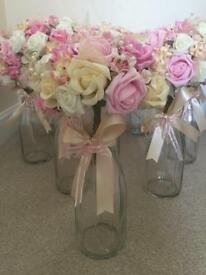 10 x wedding flowers with vases with artificial flowers bouquets