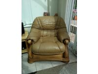 3 piece Italian leather sofa for sale. Good condition and light tan in colour.