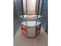 corner side shop glass cabinet corner pentagon shape w 90* d 45 * h 90 cm