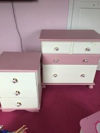 Chest of drawers and bedside table solid wood