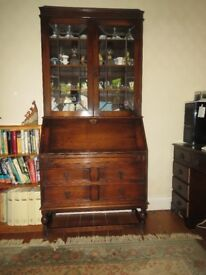 Pre war bureau, glass fronted cabinet and fold down flap to write on