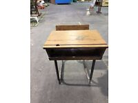 Vintage School Desk With Industrial look. Has hole for ink well