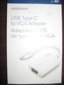 Insignia USB C / Type C to VGA Adapter. Connect Macbook / Smart Phone to Display Monitor / TV / Projector. Thunderbolt