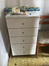 WHITE 5 CHEST OF DRAWERS x 2