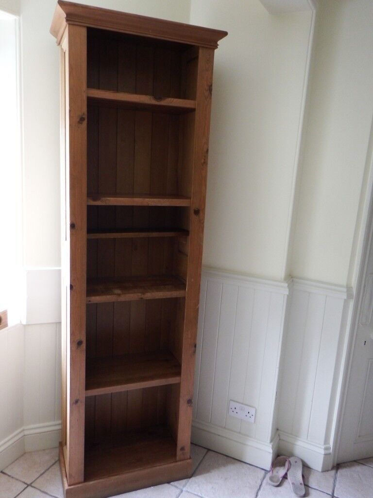 Annie Mos Tall Pitch Pine Bookshelf Storage Unit For Sale