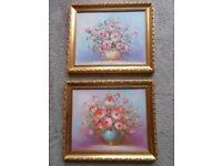 Pair of floral oil paintings