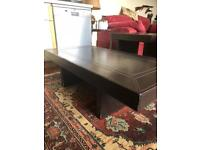 Brown Leather Coffee Table and two matching side tables