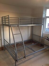 BUNK BED FRAME - very good condition - strong metal frame - standard double and single on top