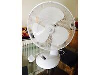 12' Oscillating Desk Fan (white) in good condition