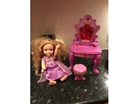 Disney rapunzel toddler doll with dressing table and stool