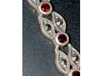 Marcisite n garnet sterling silver bracelet