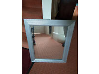 QUALITY MIRROR WITH SILVER PAINTED WOOD FRAME 21 INCHES X 25 INCHES