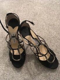 Genuine Jimmy Choo shoes UK 5.5. Black diamanté high heeled sandals