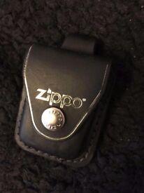 ZIPPO LEATHER LIGHTER POUCH - Black - Belt Loop / Clip Fastening