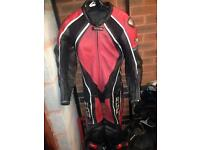 Men's one piece motorcycle Frank Thomas XTI red track leather uk40 Ducati