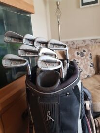 Ping S57 stiff irons good condition ping cart bag £150