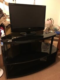 Large Black Glass Corner TV Stand