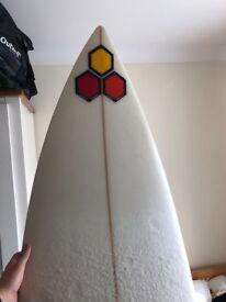 """Al Merrick (Flyer-F) 6'5"""" triple fin surfboard"""