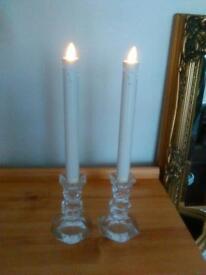 Battery operated glass candlesticks