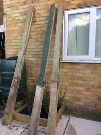 Slotted concrete posts.