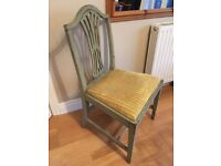 One dining/occasional Chair painted Soft Green Shabby Chic antique with old gold upholstery