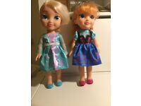 Anna & Elsa Frozen Toddler dolls - good condition