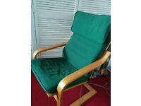 """IKEA """"Poang"""" Armchair and footstool"""